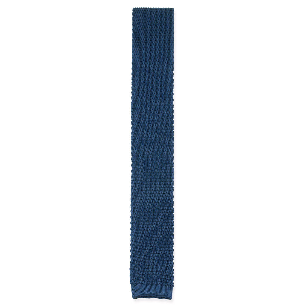 Royal blue cotton knit tie made in Como, Italy