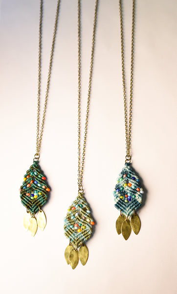 Woven Beaded Leaves Necklace