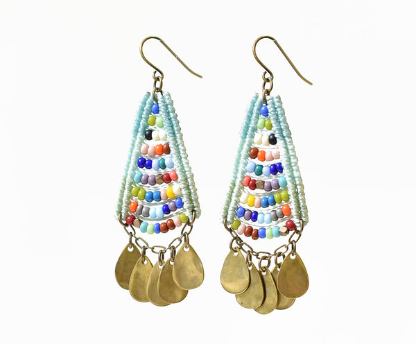 Woven Beaded Temple Earrings