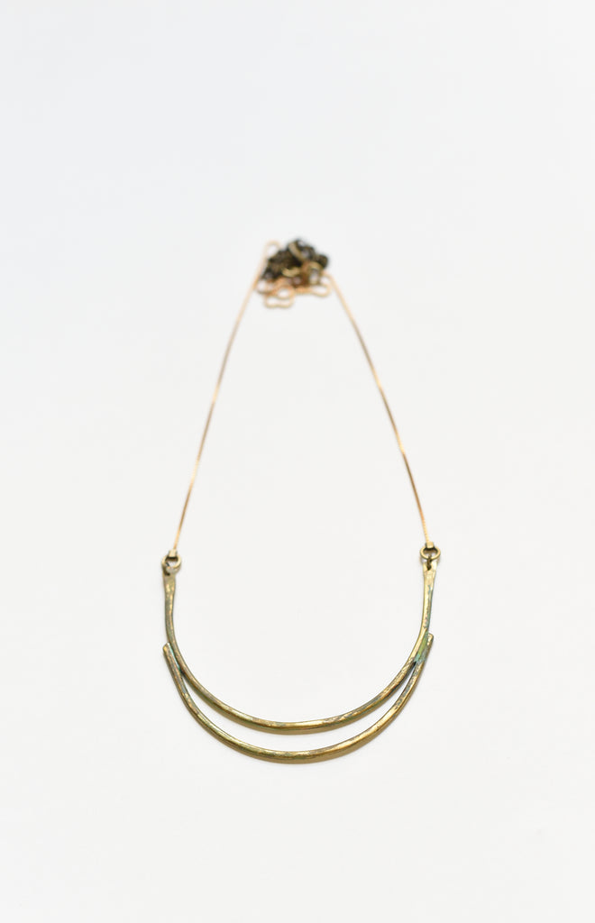 Large Double Curved Bar Necklace