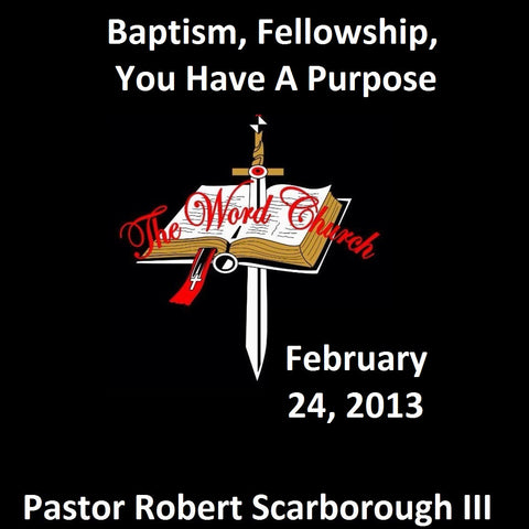 Baptism, Fellowship, You Have A Purpose