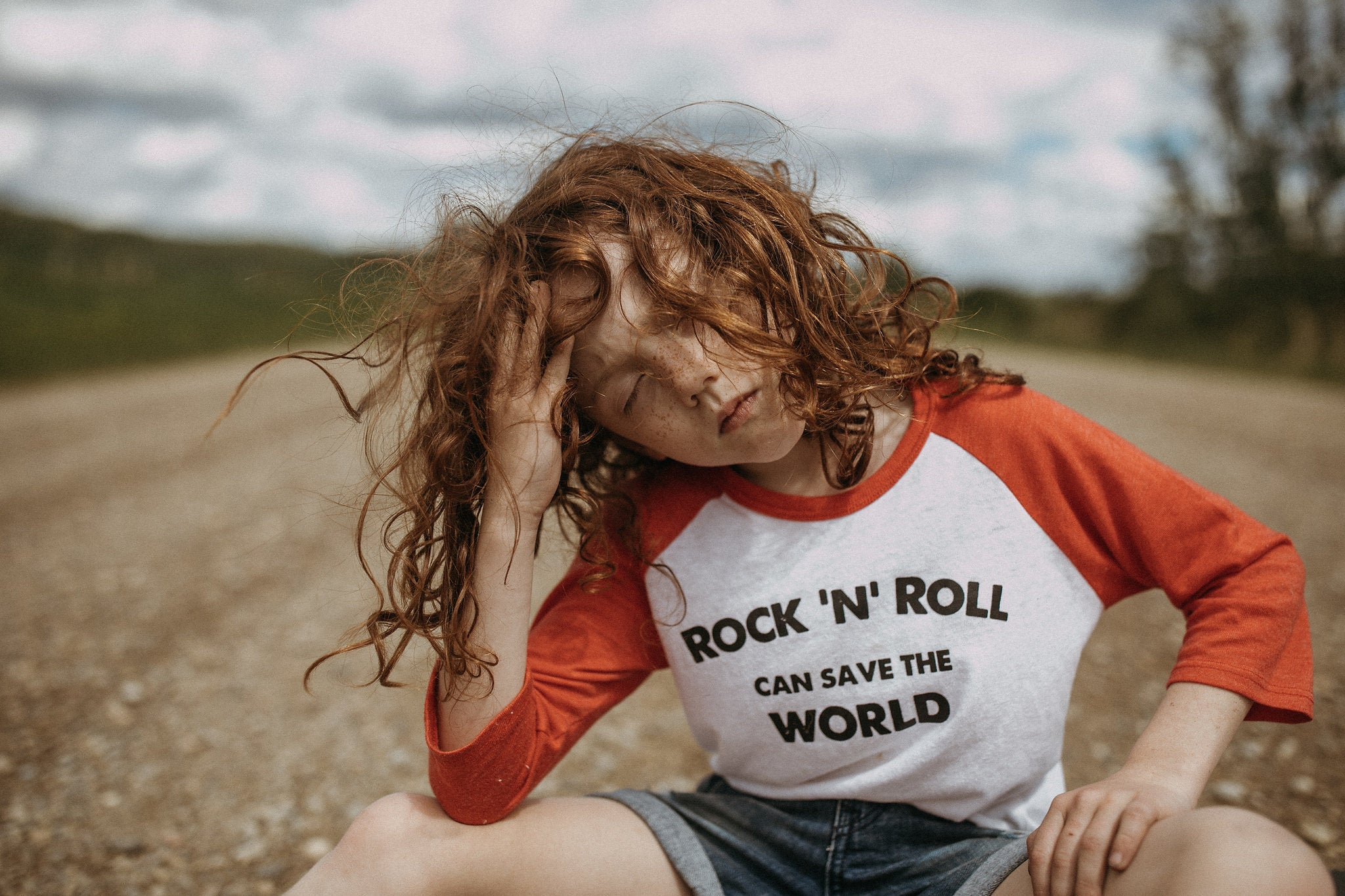 Rock 'N' Roll Can Save The World | kid's baseball tee