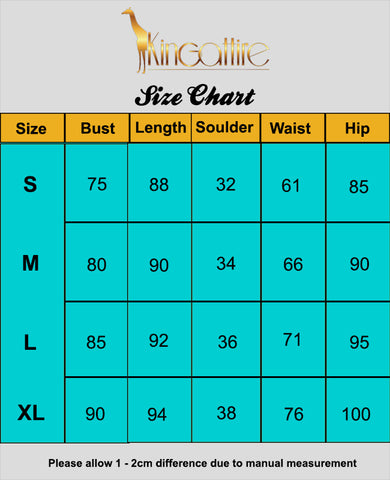 blue mini dress sizechart