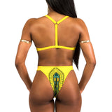 Yellow Basic Two Piece Dashiki Swimsuit