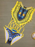 Yellow One Piece Dashiki Swimsuit
