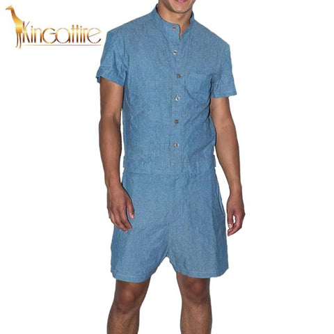 Denim Blue Men's Romper