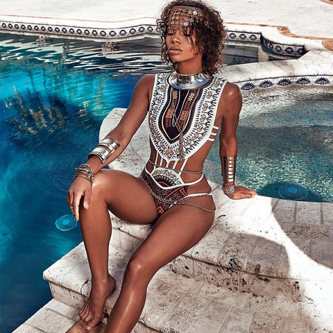 White One Piece Dashiki Swimsuit
