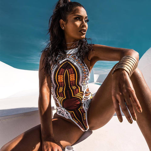 White Summer Dashiki Swimsuit