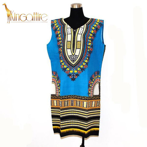 blue sleeveless dashiki