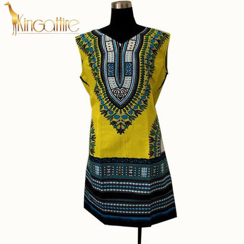 yellow blue sleeveless dress