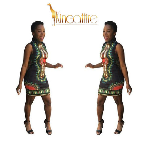 black dashiki mini dress