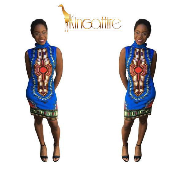 blue dashiki mini dress