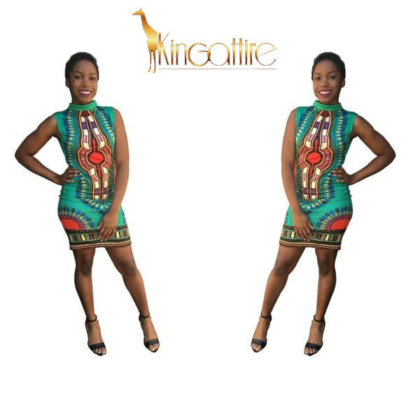 green dashiki mini dress