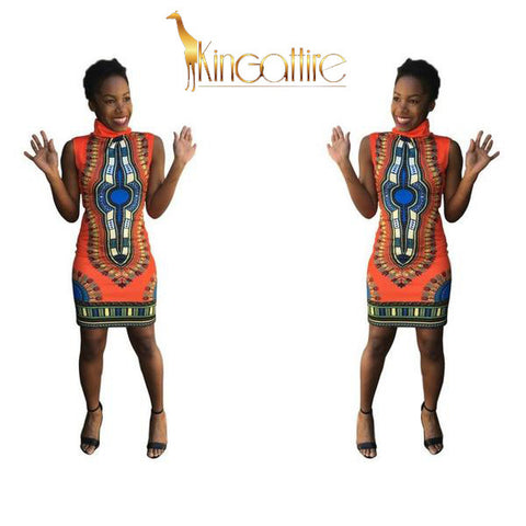 orange dashiki mini dress