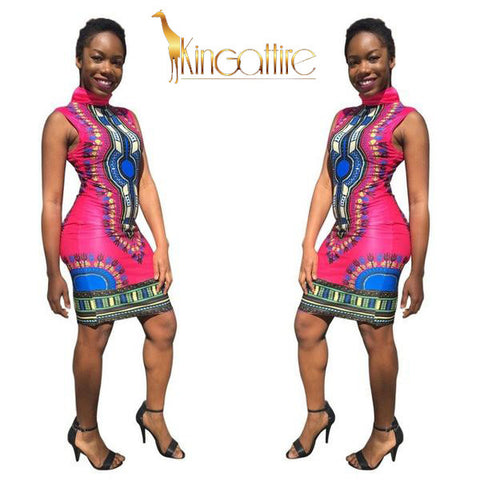 rose dashiki mini dress