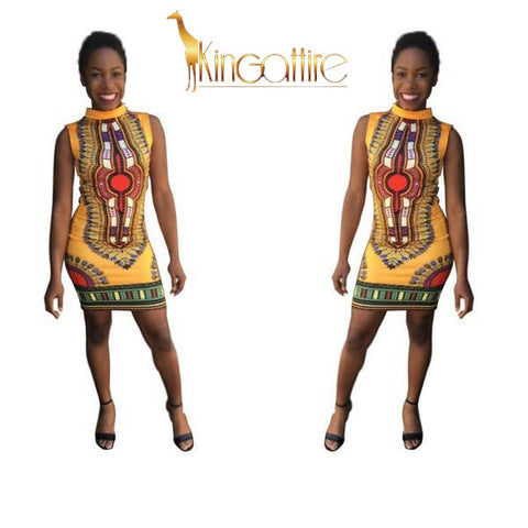 yellow dashiki mini dress