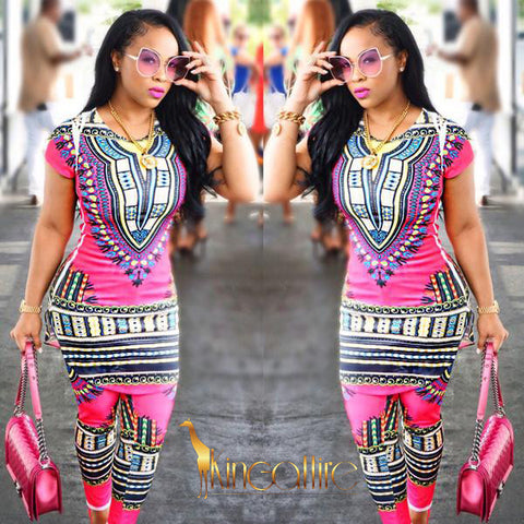 pink dashiki bottom set