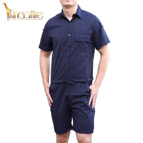 Blue Striped Men's Romper