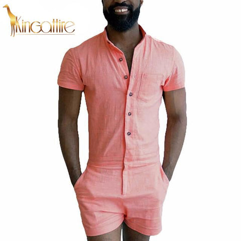 Peach Men's Romper