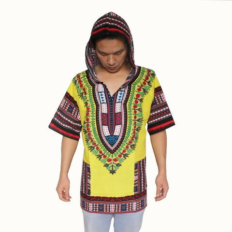 yellow red dashiki hoodie