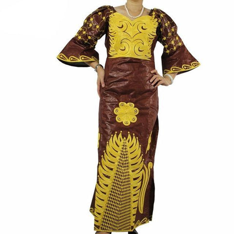 African Bazin Riche Maxi Dress (Multiple Choices)