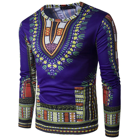 Dark Blue Dashiki Long-Sleeved