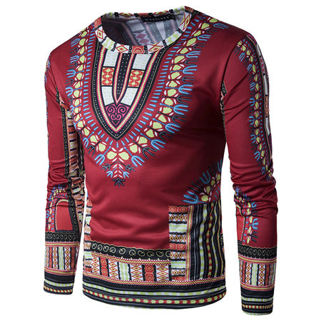 Red Dashiki Long-Sleeved
