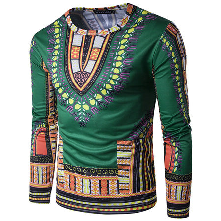 Green Dashiki Long-Sleeved