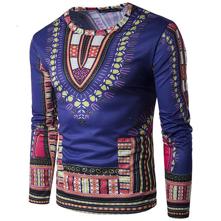 Royal Blue Dashiki Long-Sleeved