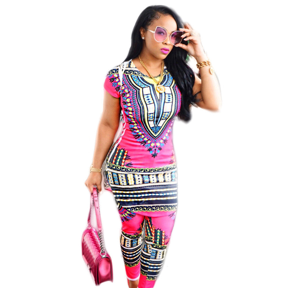 pink dashiki top bottom set3