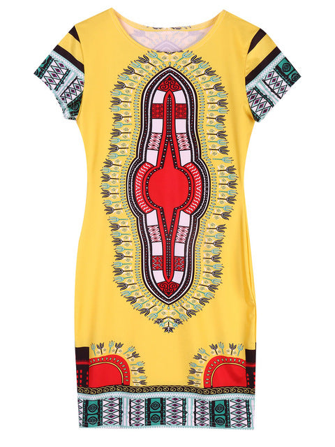 Yellow Dashiki Short-Sleeve Dress