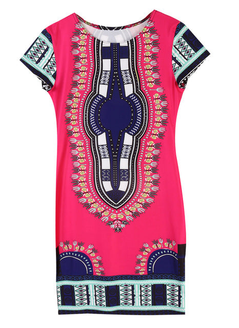 Rose Dashiki Short-Sleeve Dress