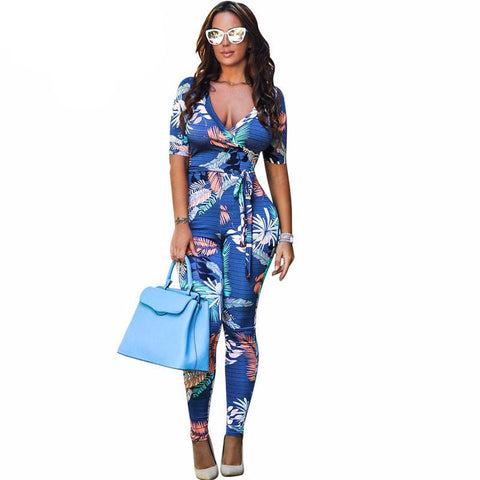 Blue Floral Romper Jumpsuit(Multiple Choices)