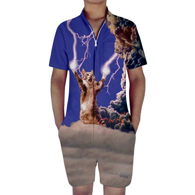 Electric Cat Men's Romper