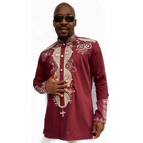 Red Long-Sleeved Retro Dashiki Tops