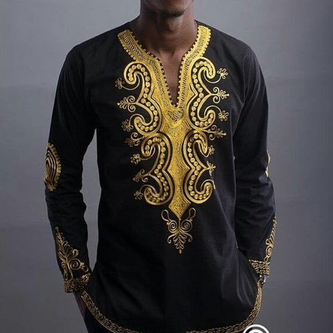 Black King Long-Sleeved Retro Dashiki Tops