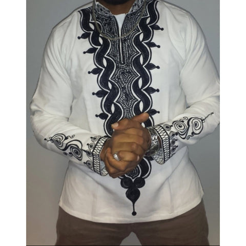 New White Long-Sleeved Retro Dashiki Tops