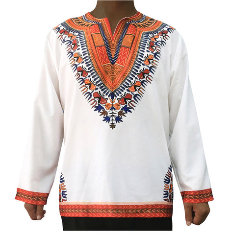 White Long-Sleeved Retro Dashiki Tops