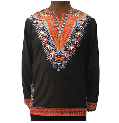Black Long-Sleeved Retro Dashiki Tops