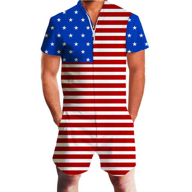 American Flag Men's Romper