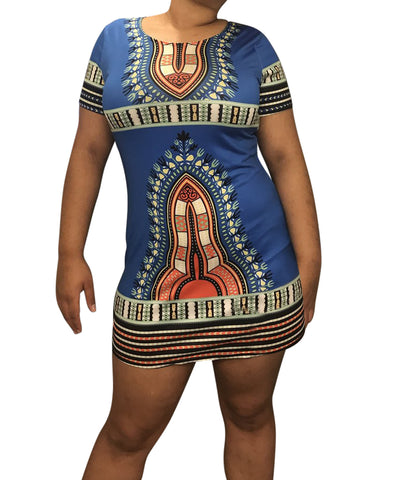 Blue Dashiki Short-Sleeve Dress