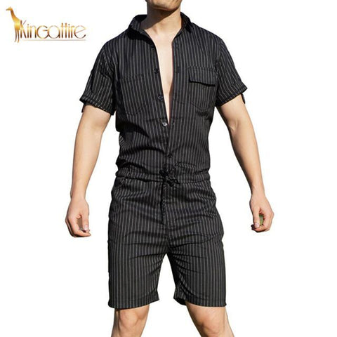 Black Striped Men's Romper