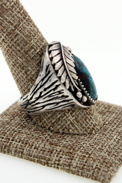 Navajo Sterling Silver New Lander Turquoise Cast Ring Size 11.25