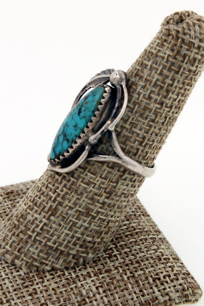 Navajo Sterling Silver Vintage Nevada Blue Turquoise Ring Size 7.75 Marked DD