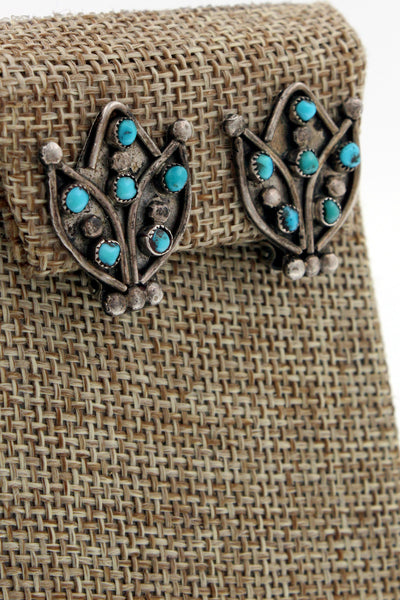 Zuni Sterling Silver Snake Eyes Turquoise Squash Blossom Clip On Earrings