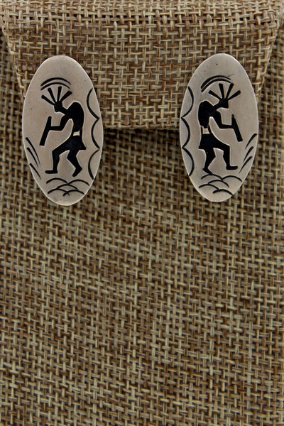 Hopi Sterling Silver Overlay Kokopelli Oval Earrings Signed