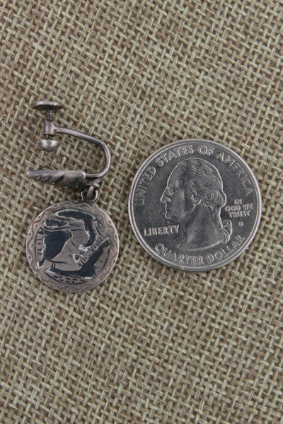 Hopi Sterling Silver Overlay Story Teller Earrings Screw Backs