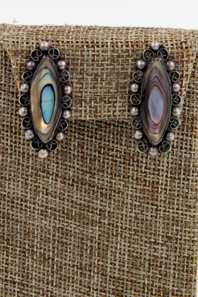 Taxco Sterling Silver Abalone Ornate Oval Vintage Alpaca Screw Back Earrings