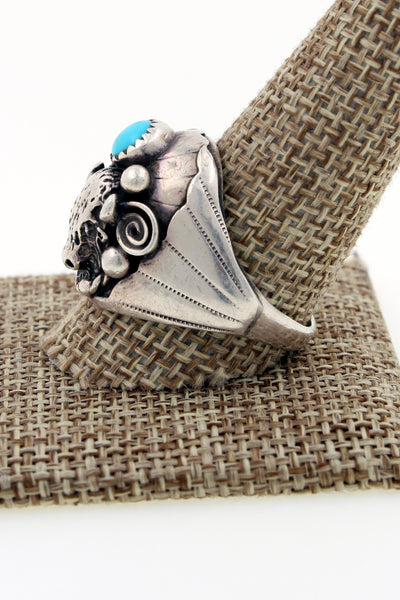 Navajo Sterling Silver Turquoise & Coral Buffalo Head Ring Marked DL Size 11.75