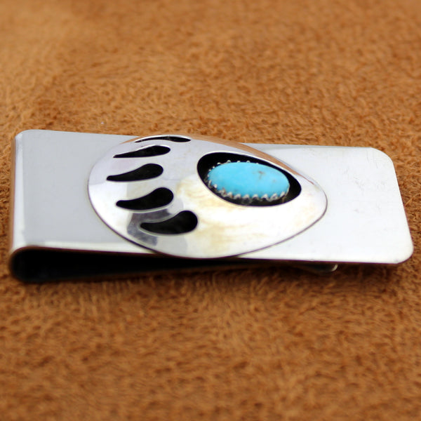 Navajo Sterling Silver Turquoise Bear Paw Shadowbox Stainless Money Clip